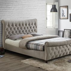 The Birlea Copenhagen Warm Stone Fabric Bed is made from luxurious fabric, the bed features a beautiful deep-diamond quilting headboard with matching foot end. Quilted Headboard, Upholstered Bed Frame, Headboard And Footboard, Quilted Bed Frame, Super King Size Bed, King Size Bed Frame, Fabric King Size Bed, Fabric Beds, Camas King