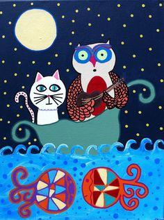 Kerri Ambrosino Art NEEDLEPOINT Mexican Folk Art Owl and The Pussycat ocean fish guitar moon cat on Etsy, $22.99