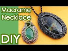 How to make a macrame pendant with a Gemstone and Beads ラーメンどんぶり柄マクラメネックレスの作り方 - YouTube
