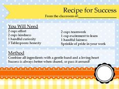 Recipe for Success First Day of School Activity. Complete download FREE!!