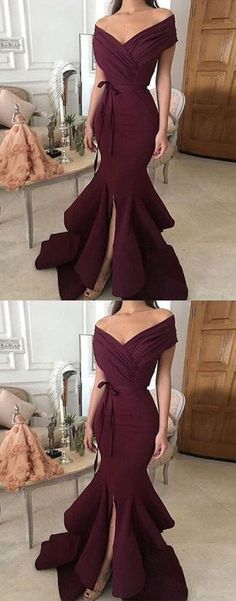 Simple off shoulder long prom dress, evening dress Prom Gowns, Formal Women Dress , M1286#prom #promdress #promdresses #longpromdress #promgowns #promgown #2018style #newfashion #newstyles #2018newprom #eveninggown #darkburgundy #offshoulder #formaldress #eveningdress