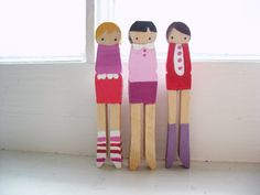 handmade wooden folk art miNi clothespins brooches  by mooshoopork, $35.00