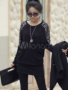 Modern coton mélange Leopard Print surdimensionné T-shirt de la femme manches longues - Milanoo.com