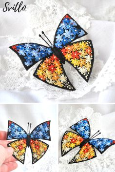 Hand Embroidery colorful butterfly felt brooch Orange yellow blue flowers Embroidery insect brooch Textile butterfly pin Felt Butterfly. 21.93$