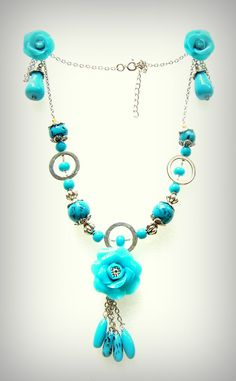 Turquoise polymer clay necklace and earring