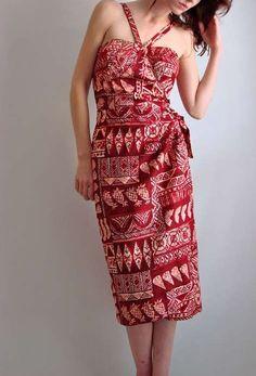 Red tapa print dress