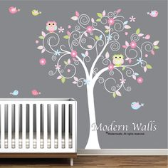 Children Wall Decals For Nursery- Tree with Flowers Owls Birds by Modernwalls on Etsy https://www.etsy.com/listing/113684860/children-wall-decals-for-nursery-tree