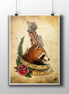 Rocket Raccoon Tattoo Parlour Poster Print by NebulaPrints on Etsy