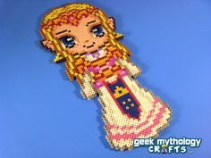 Princess Zelda Nintendo - Custom Chibishou Perler Bead Sprite Pixel Art Decoration. $15.00, via Etsy.