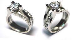 Custom Triple Row Tension set Diamond Ring