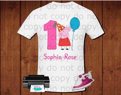 Birthday Girl, Peppa pig iron on transfer party girl with balloon iron on transfer, Peppa pig birthday party shirt, printable file