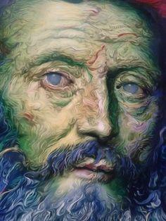 Glenn Brown Painting Detail Portrait Gagosian Gallery New York
