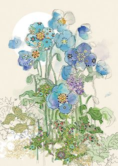 BugArt Collage ~ Blue Poppies. Collage *NEW* Designed by Jane Crowther.