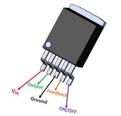 is a voltage Regulator IC, it uses the Buck-converter topology to step-down and regulate higher level voltage values to lower level. Electronics Projects, Simple Electronics, Hobby Electronics, Electronics Components, Basic Electronic Circuits, Electronic Circuit Design, Electronic Schematics, Basic Electrical Engineering, Electrical Projects
