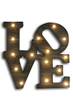 CRYSTAL ART GALLERY 'Love' Marquee Light Wooden Sign available at #Nordstrom