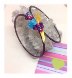 Double bangles featuring beads, wire and yellow ribbon.  Red and black bangles. Statement jewellery.  Includes gift card. A16BAN02 by GoldRibbonsStudio on Etsy https://www.etsy.com/au/listing/289036389/double-bangles-featuring-beads-wire-and