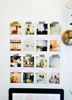 instagram photos printed and mounted on the wall