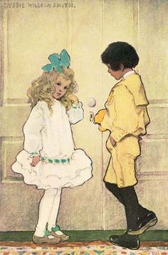 Jessie Wilcox Smith-my favorite dress as a child was just like this except with the colors reversed, turquoise with small white polka dots