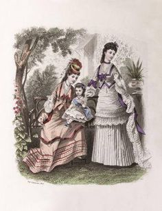 Romantic Victorian Mother's day Love Card new Baby La Mode Illustree 1872 Victorian Art, Victorian Fashion, 1870s Fashion, Bustle, Love Cards, 19th Century, New Baby Products, Handmade Gifts, Christmas Gifts