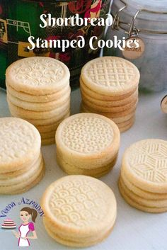 These shortbread stamped cookies are buttery and with a soft crumb that almost melt in the mouth. They are simple and easy to make so they are great when you need an afternoon tea cookie or if you want to gift them as festive treats. Stamped Sugar Cookie Recipe, Cookie Recipe For Embossed Rolling Pin, Stamp Cookies Recipe, Molded Cookie Recipe, Sugar Cookies Recipe, Yummy Cookies, Cookie Stamp, Recipe Stamp, Cookie Cups