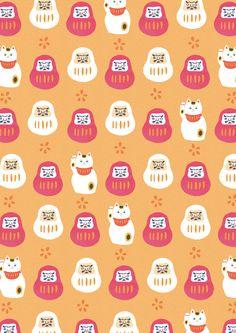Cat Pattern, Pattern Paper, Pattern Design, Japanese Patterns, Japanese Prints, Daruma Doll Tattoo, Japan Icon, Acrylic Charms, Japanese Graphic Design