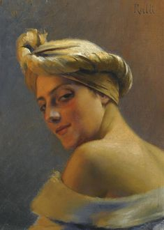 Theodoros Ralli (Greek Painter 1852 - Girl with Turban, nd oil on canvas Private collection A4 Poster, Poster Prints, Canvas Art Prints, Oil On Canvas, Famous Art Paintings, Portrait Paintings, Portrait Art, Jean Leon, Greek Art