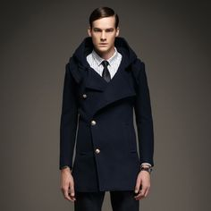 Manteau Hiver Homme à Capuche Col Large Laine Boutons Diagonales