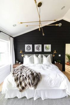 Home Decor Bedroom White Bedding in Master Bedroom Black Walls in Bedroom Black Shiplap Black and Brass Bedroom.Home Decor Bedroom White Bedding in Master Bedroom Black Walls in Bedroom Black Shiplap Black and Brass Bedroom Modern Master Bedroom, Bedroom Black, Master Bedroom Design, Home Decor Bedroom, Bedroom Ideas, Master Bathroom, Cozy Bedroom, Bedroom Furniture, Bedroom Brown