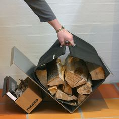 MORSØ STYLE LOG HOLDER This is a great design and comes complete with wood bag. It's available and manufactured from stainless steel from Glasgow Engineering. Log Burner Accessories, Fireplace Accessories, Firewood Rack, Firewood Storage, Range Buche, Log Carrier, Log Holder, Storage Caddy, Wood Burner