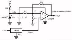 LM20, mini temperatuursensor -55 ºC tot +130 ºC. De LM20 is met zijn afmetingen van 2,0 mm bij 1,30 mm een van de kleinste temperatuursensoren die op de markt is. Het IC wordt gevoed uit een spanning van 5 V en levert een spanning af die omgekeerd evenredig is met de temperatuur van de chip.