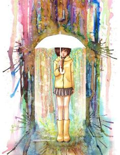 Watercolor- this is really cute. If I painted something like this I would make her skirt longer.