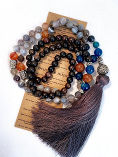 Mala necklace Botswana agate wood dyed agate with by LDTcreative