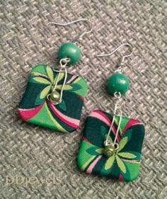 earrings with green buttons