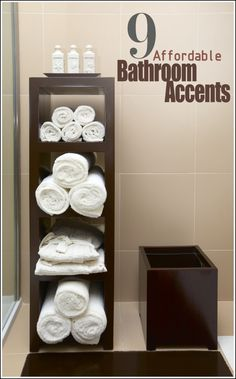 Towel storage ideas for bathroom 9 affordable bathroom decor ideas house bathroom accents bathroom home decor House Bathroom, Bathroom Inspiration, Bathroom Accents, Decor, Bathroom Decor, Home Diy, Towel Storage, Towel Shelf, Home Decor