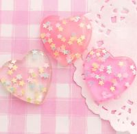 6 x LARGE Sparkle Star Hearts Cabochon Embellishments DIY Decoden Kawaii Craft