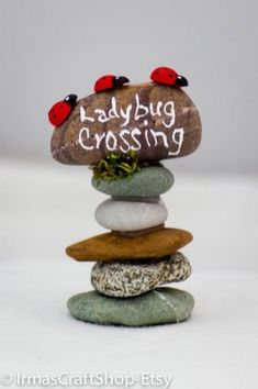 Ladybug Crossing Rock Sign Fairy Garden Sign by IrmasCraftShop - Fairy furniture, accessories, plants, etc - Garden Style - Fairy Crafts, Garden Crafts, Garden Ideas Diy, Diy Ideas, Diy Garden Decor, Fairy Village, Gnome Village, Fairy Tree, Fairy Garden Houses
