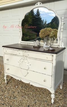 """Stunning Shabby Chic Dresser/Entryway Piece With Mirror-Painted With A Creamy Swiss Coffee Chalk Paint, Distressed & Waxed Sealed. Top Is Finished In A Jacobean Stain & Sealed 3x With Polyurethane. Beautiful Glass Pulls. Measures: 47""""w, 21""""d, 35.5""""t. Elgin! ($300)"""