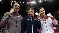 Danell Leyva wins bronze in men's gymnastics all around competition.