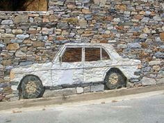 Rocking Mercedes Art Car from Ikaria Greece. Ikaria Greece, Greece Art, Stone Work, Street Art Graffiti, Greek Islands, Planet Earth, Places To Visit, Vacation, Rock