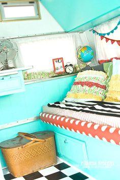 Bed/sofa area. Inside of my Dazey glamper. #glamping #vintagetrailer @Kath Gibson