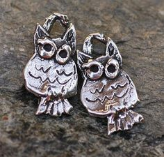 Two Sweet Tiny Owl Charm in Sterling Silver by cathydailey on Etsy, $8.09