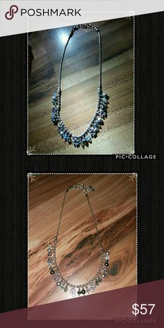 Brighton Blue Crystal Necklace Blue & clear crystals w/ hearts silver necklace adjustable clasp can extend up to 16 inches Brighton Jewelry Necklaces