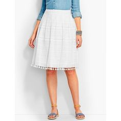 Talbots Women's Tassel Trimmed Pleated Skirt ($37) ❤ liked on Polyvore featuring skirts, plus size, white, plus size pleated skirt, full skirts, plus size skirts, white ruffle skirt and white skirt