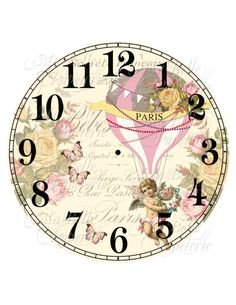 Shabby Chic Clock-DIY French Inspired Clock Face with Hot Air Balloon, Roses and Cherub