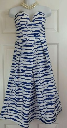 Angel Biba White & Blue Scribble Stripe Strapless Corset Bodice A Line Dress 8 #AngelBiba #Corset #Casual