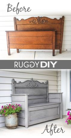 Check out the tutorial on how to make a DIY headboard bench @istandarddesign #recycledfurniture