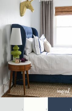 Sherwin Williams 1. Rock Candy (walls) // 2. Extra White (trim) // 3. Loyal Blue (bed) - Inspired by Charm Paint Colors