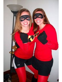 The Incredibles Costume DIY= Irne On Incredibles sign, red shirt, red tights, black shorts, black mask and black gloves