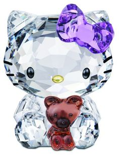 Swarovski Crystal Hello Kitty with Violet Bow Teddy Bear.  Swarovski Crystal Figurine.