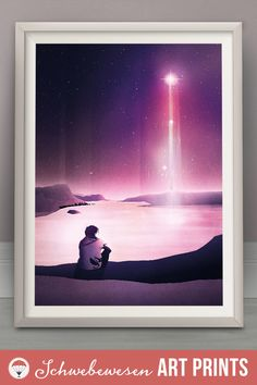 Stargazing Art Print Wishing Star Galaxy Poster Celestial Sky Astronomy Painting Inspirational Print Stargazer Wall Art Magic Night Ocean